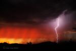 ©DUST STORM & LIGHTNING STRIKE. Photograph by Linda Covey, Arizona