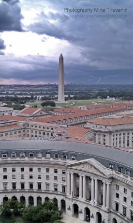 © Washington Monument. Spider lightning strike. Photograph by Mina Thevenin