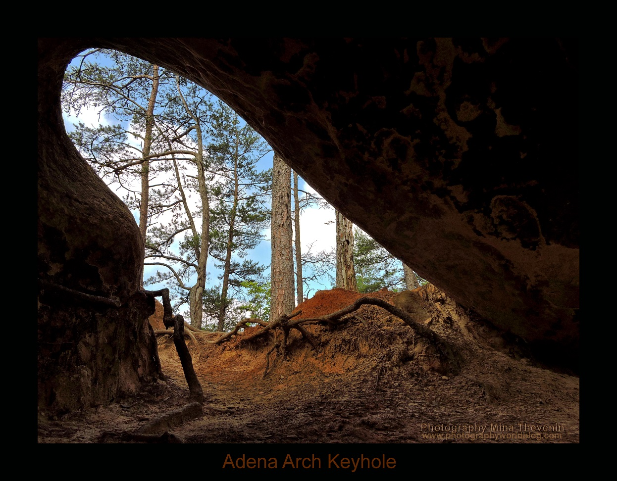 © Adena Arch. Inside the Adena Arch- looking out. Photograph by Mina Thevenin