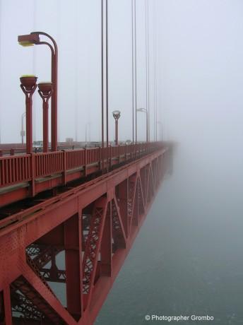 © Golden Gate Bridge in Fog. Photograph by Grombo