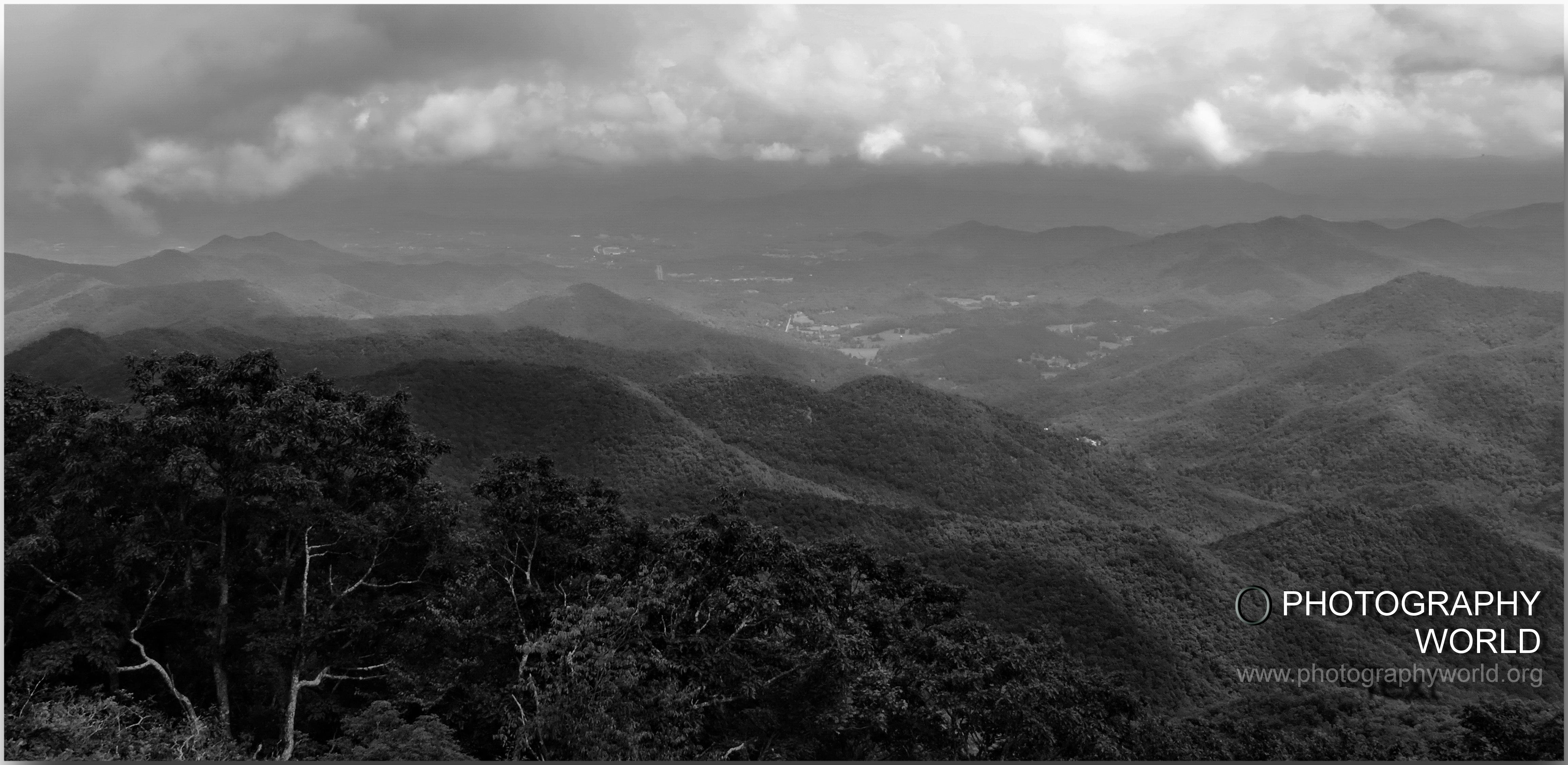 "© Wayah Bald Observation Tower looking towards NC & TN Smoky Mountains. August 2015 Photograph by Mina Thevenin. Photography World article: ""APPALACHIAN TRAIL|Take a Walk on the Wild Side|Nantahala|Tellico Gap to Wayah Bald"" photographyworld.org"
