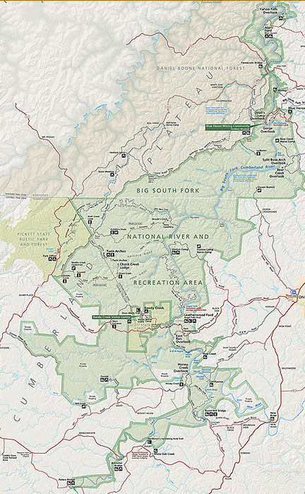General Regional Map of Big South Fork on the Cumberland Plateau ...
