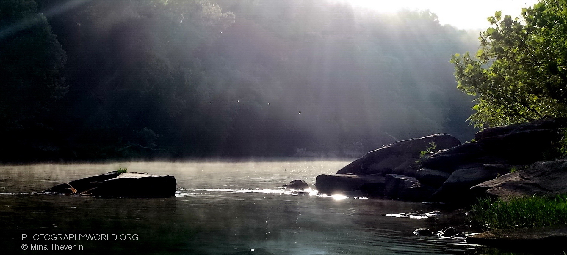 Morning Fog on the Summer BIG SOUTH FORK. Copyright image by Mina Thevenin @ https://photographyworld.org/nature/whitewater-canoeing/