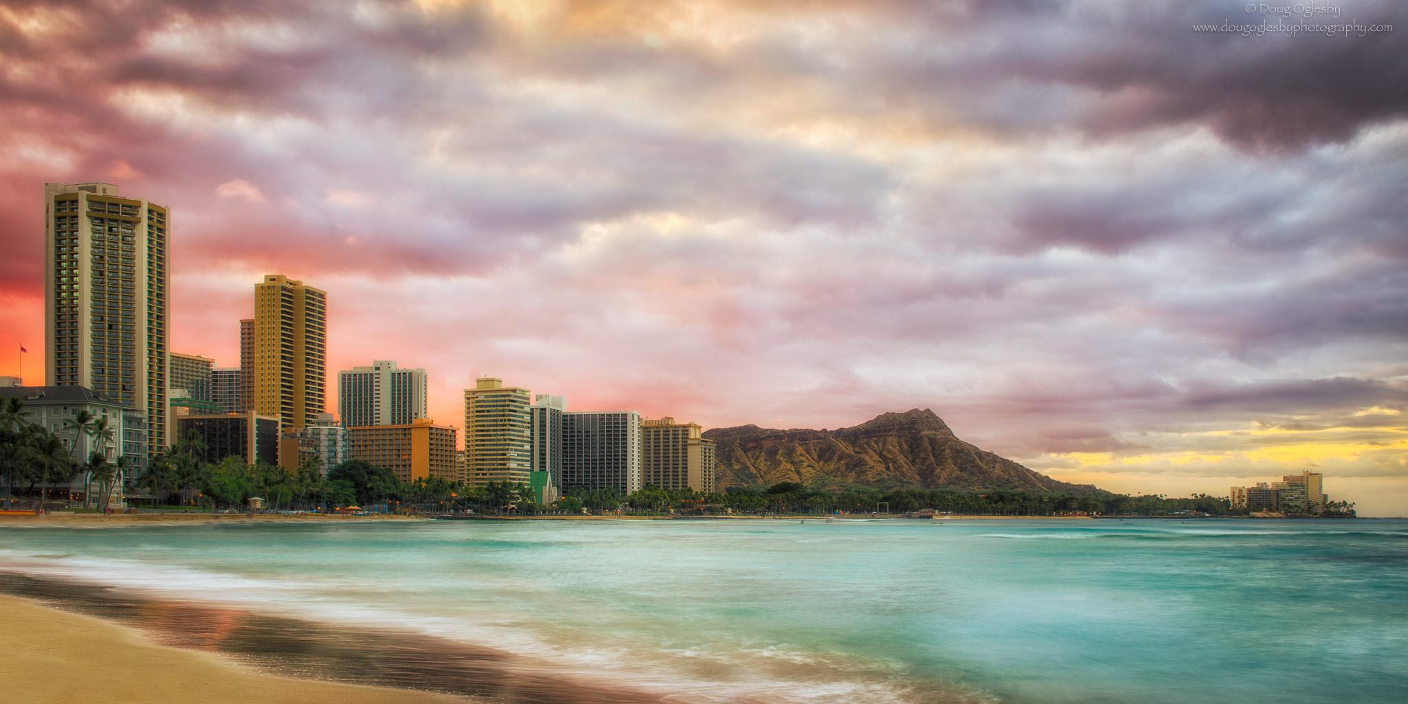 Sunrise at Waikiki on O'ahu. Copyright image by Photographer Doug Oglesby for https://photographyworld.org/nature/early-hawaii-history/